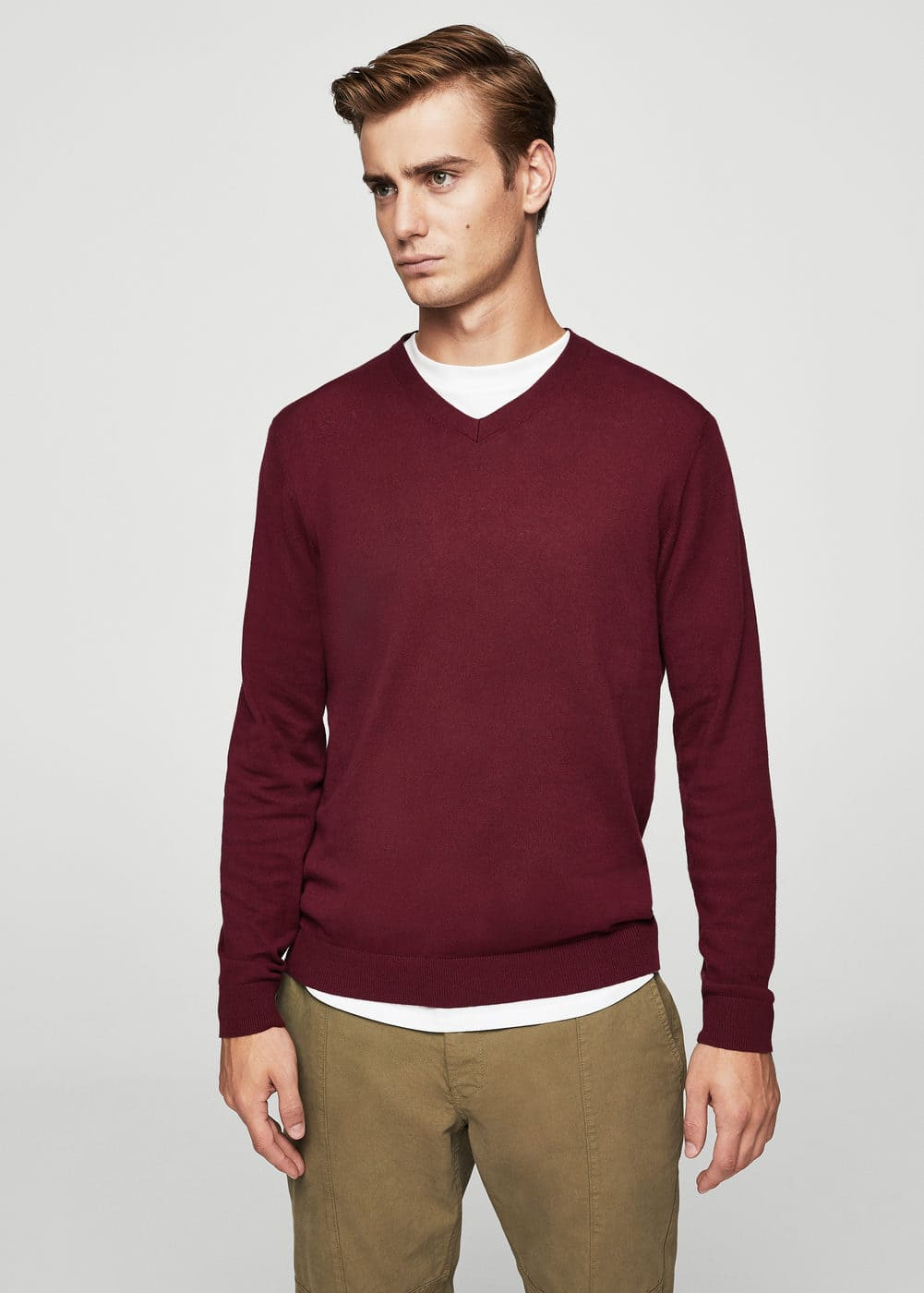 Textured cotton cashmere-blend sweater | MANGO
