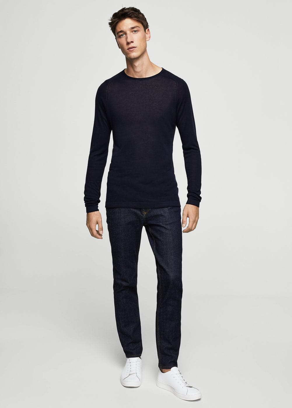 Fine-knit silk-blend sweater | MANGO MAN