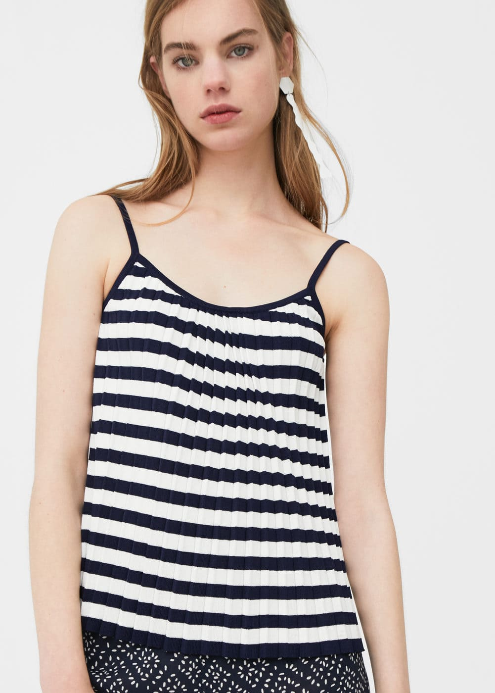 Striped pleated top | MANGO