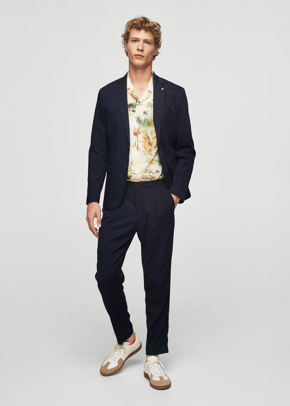 Slim-fit cotton-blend textured blazer | MANGO