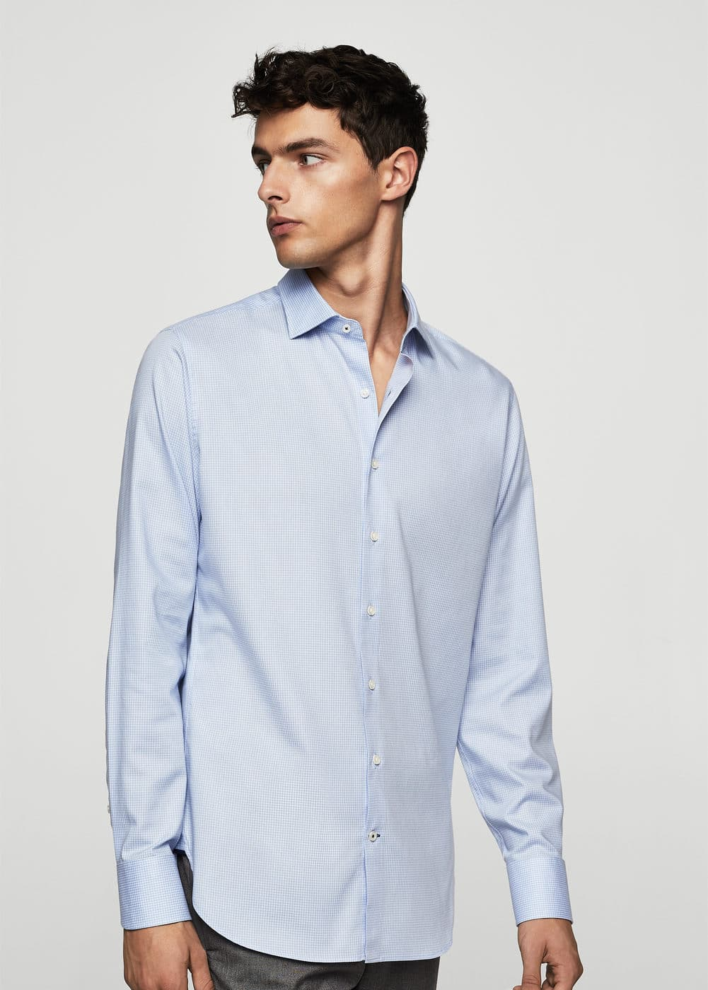 Camisa tailored slim-fit cuadros | MANGO MAN
