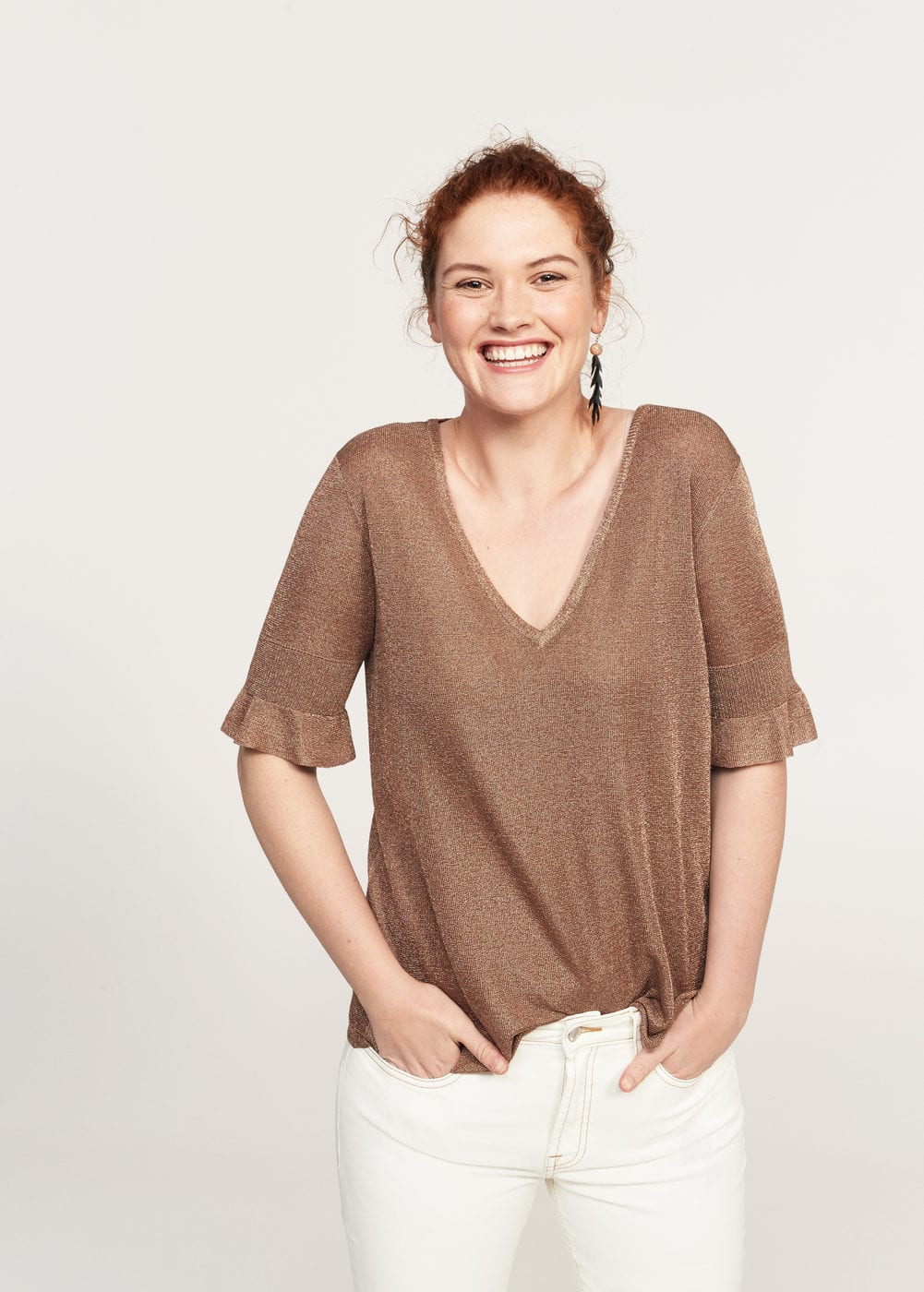Ruffled detail sweater | MANGO