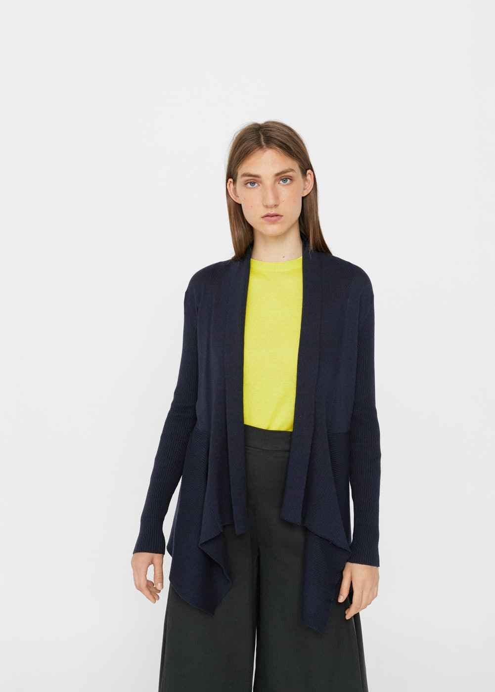 Ribbed lapel cardigan | MANGO
