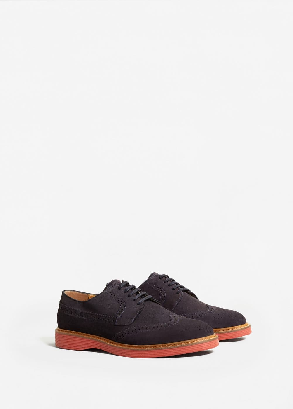 Contrast sole leather blucher | MANGO MAN