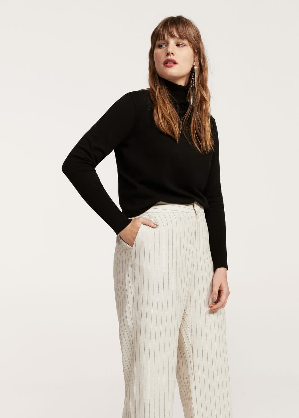 Striped linen-blend trousers | VIOLETA BY MNG