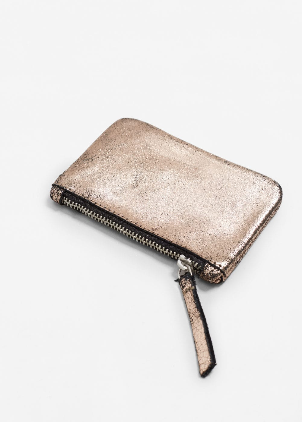 Metallic leather purse | MANGO