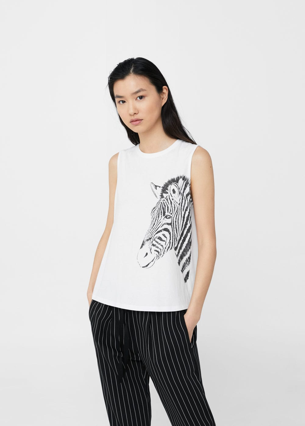 Printed cotton top | MANGO