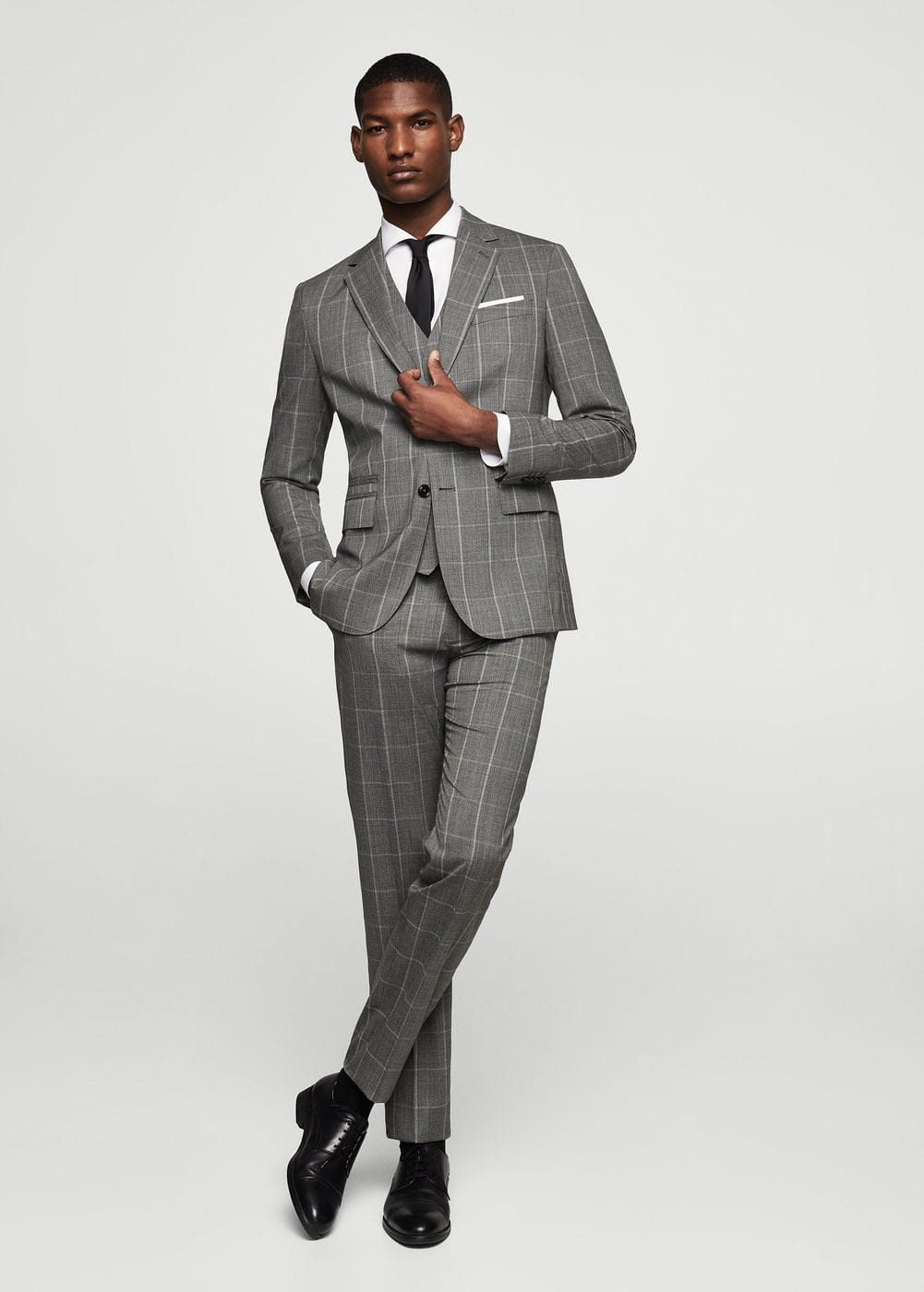 Slim-fit check wool suit blazer | MANGO