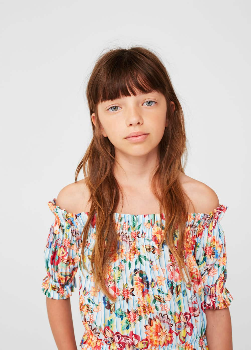 Blusa off-shoulder estampada | MANGO KIDS