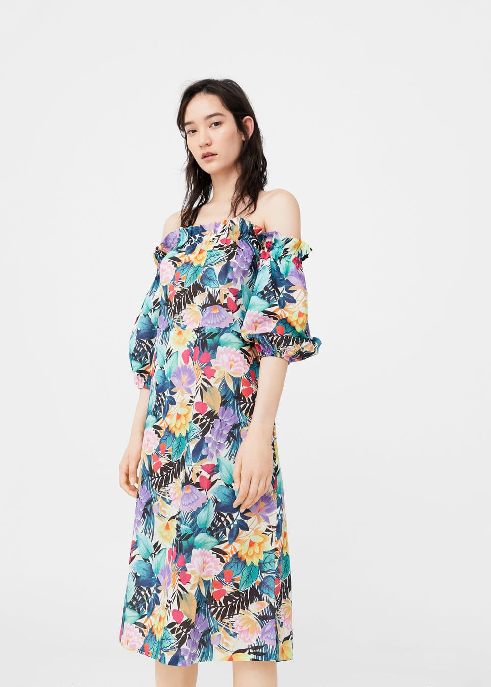 Vestit off-shoulder estampat | MANGO