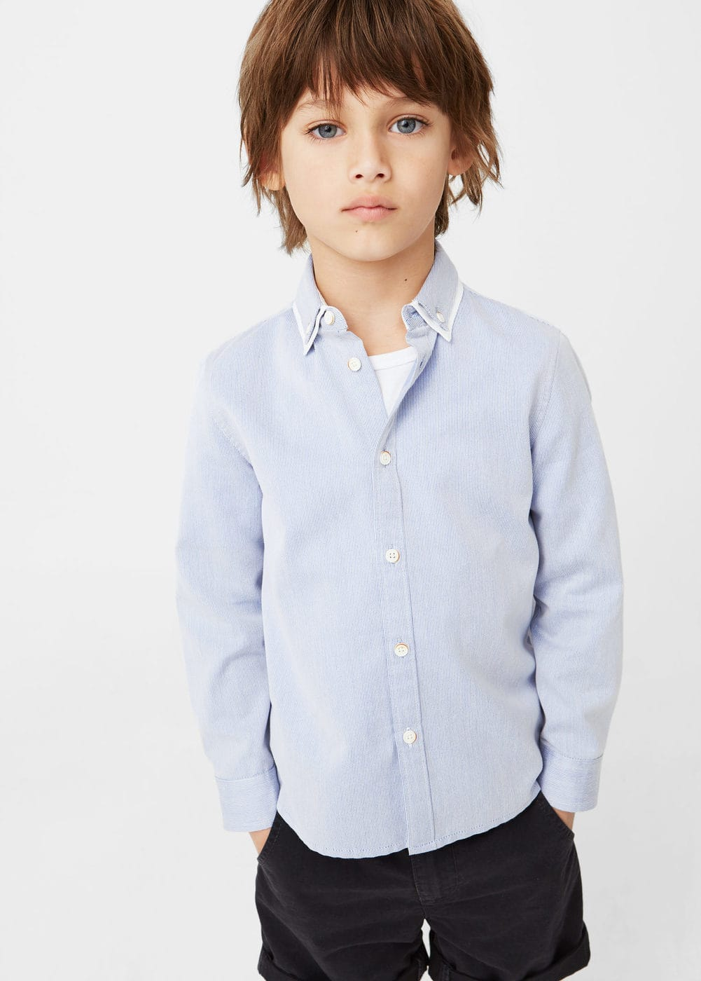 Double neck striped shirt | MANGO KIDS