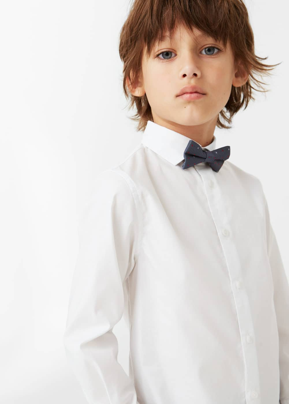 Bow tie cotton shirt | MANGO KIDS