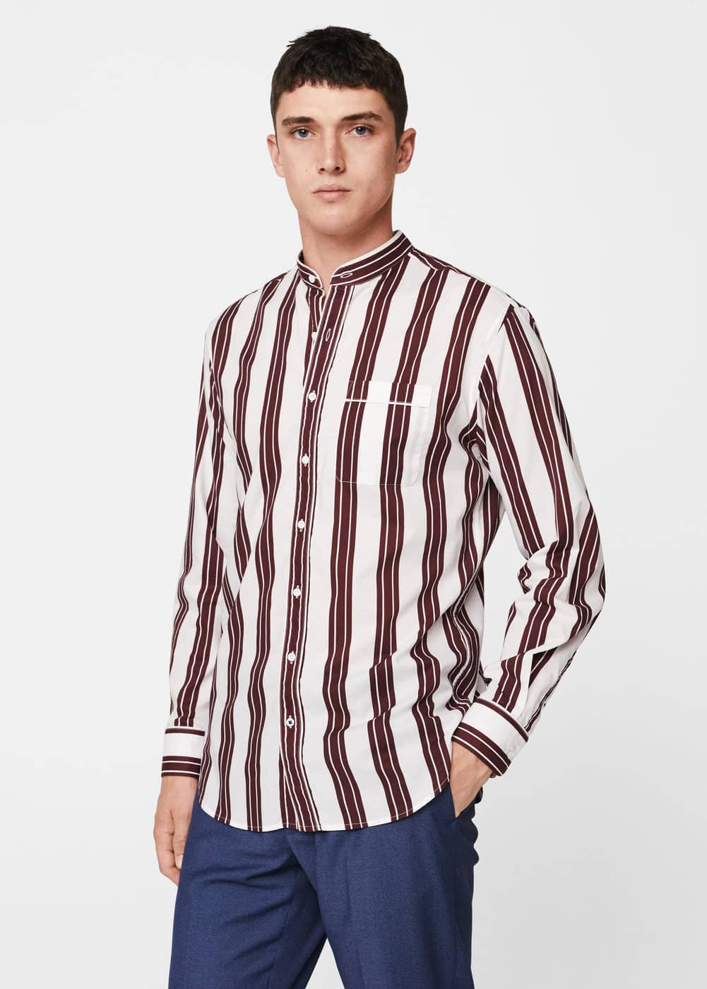 Regular-fit striped cotton shirt | MANGO