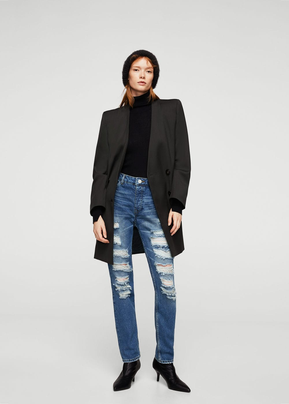Jeans rotos decorativos girlfriend | MANGO
