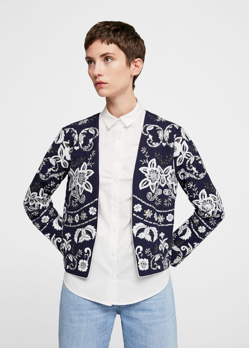 Sequin embroidered jacket | MANGO