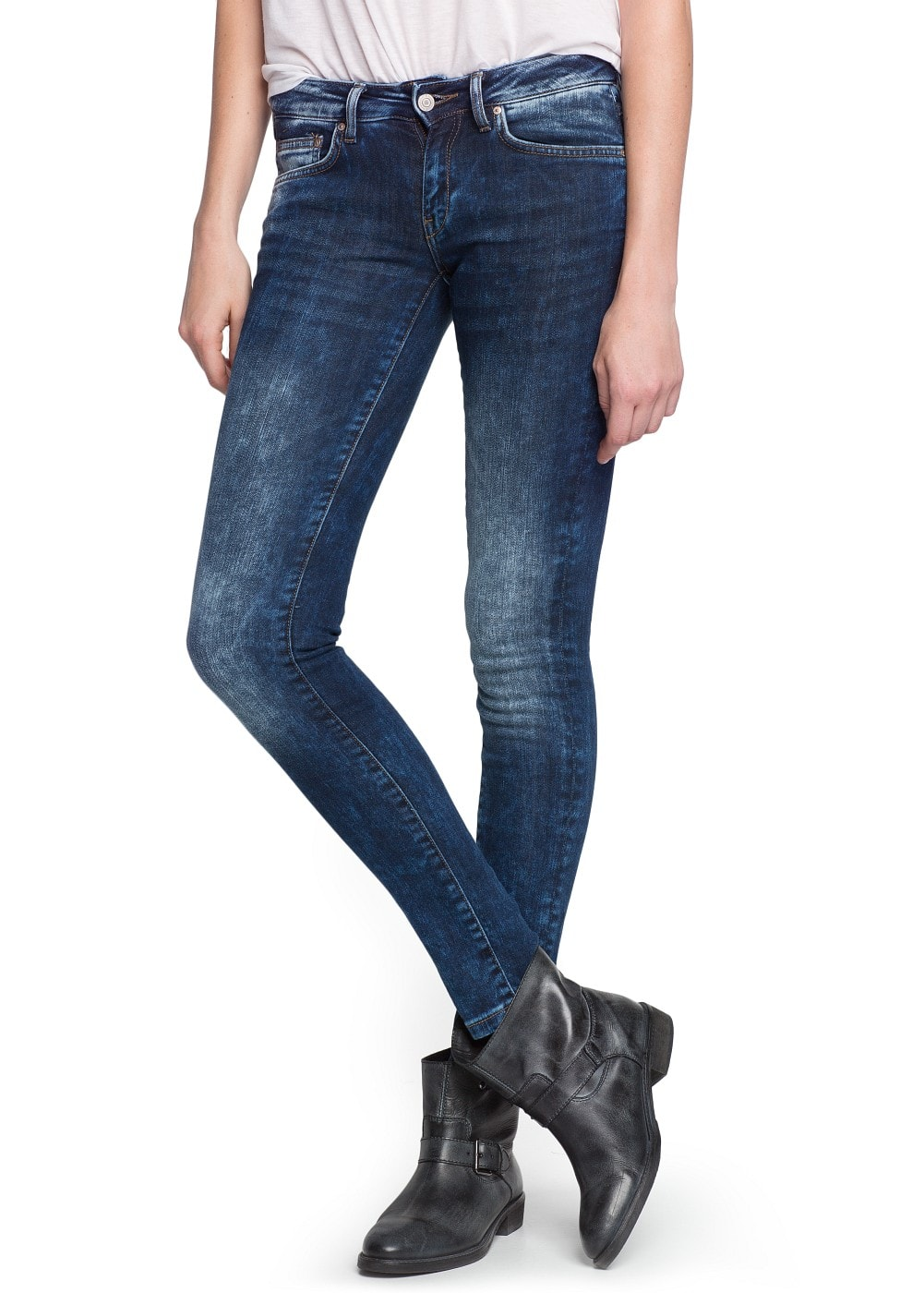 Super slim-fit dark wash jeans | MANGO