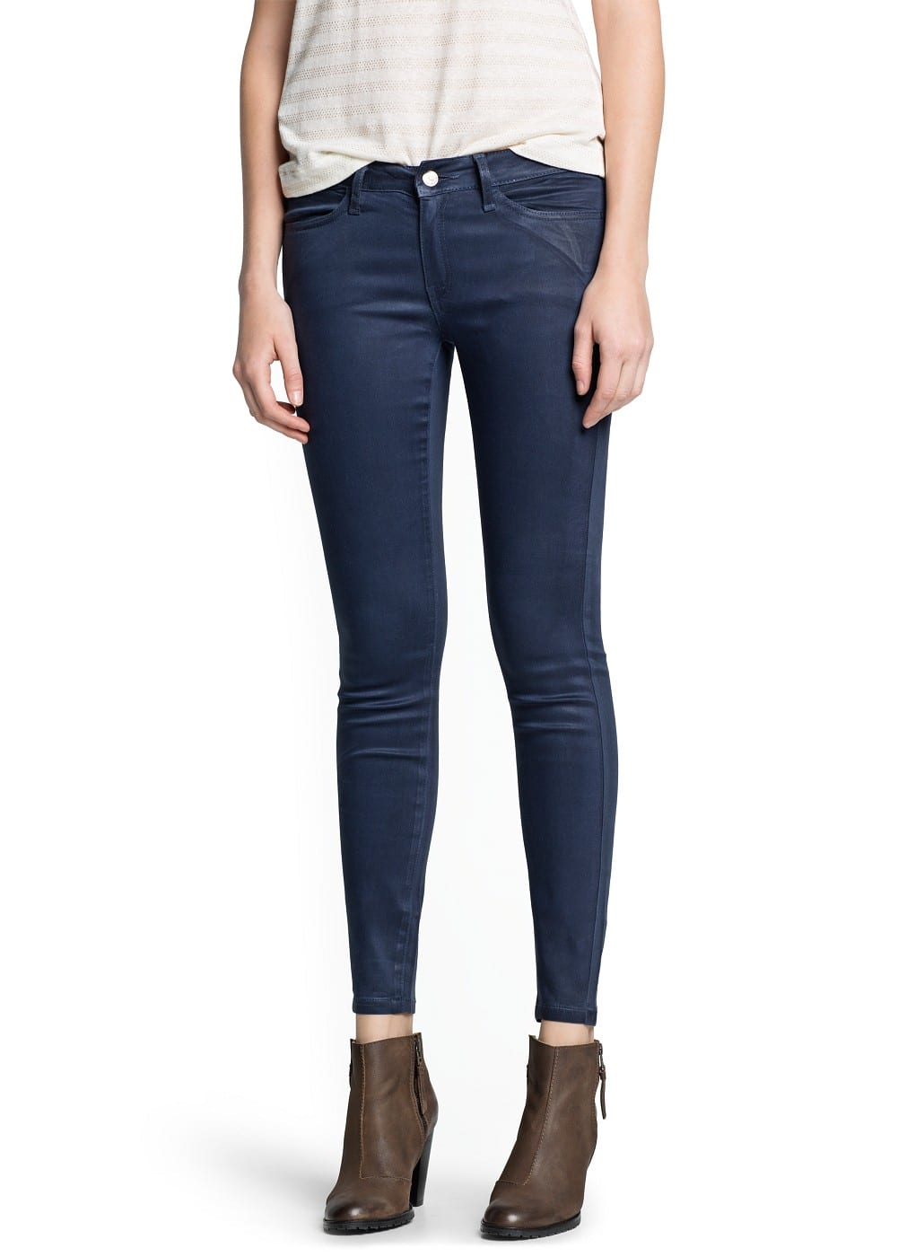 Super slim-fit coated blue jeans | MANGO