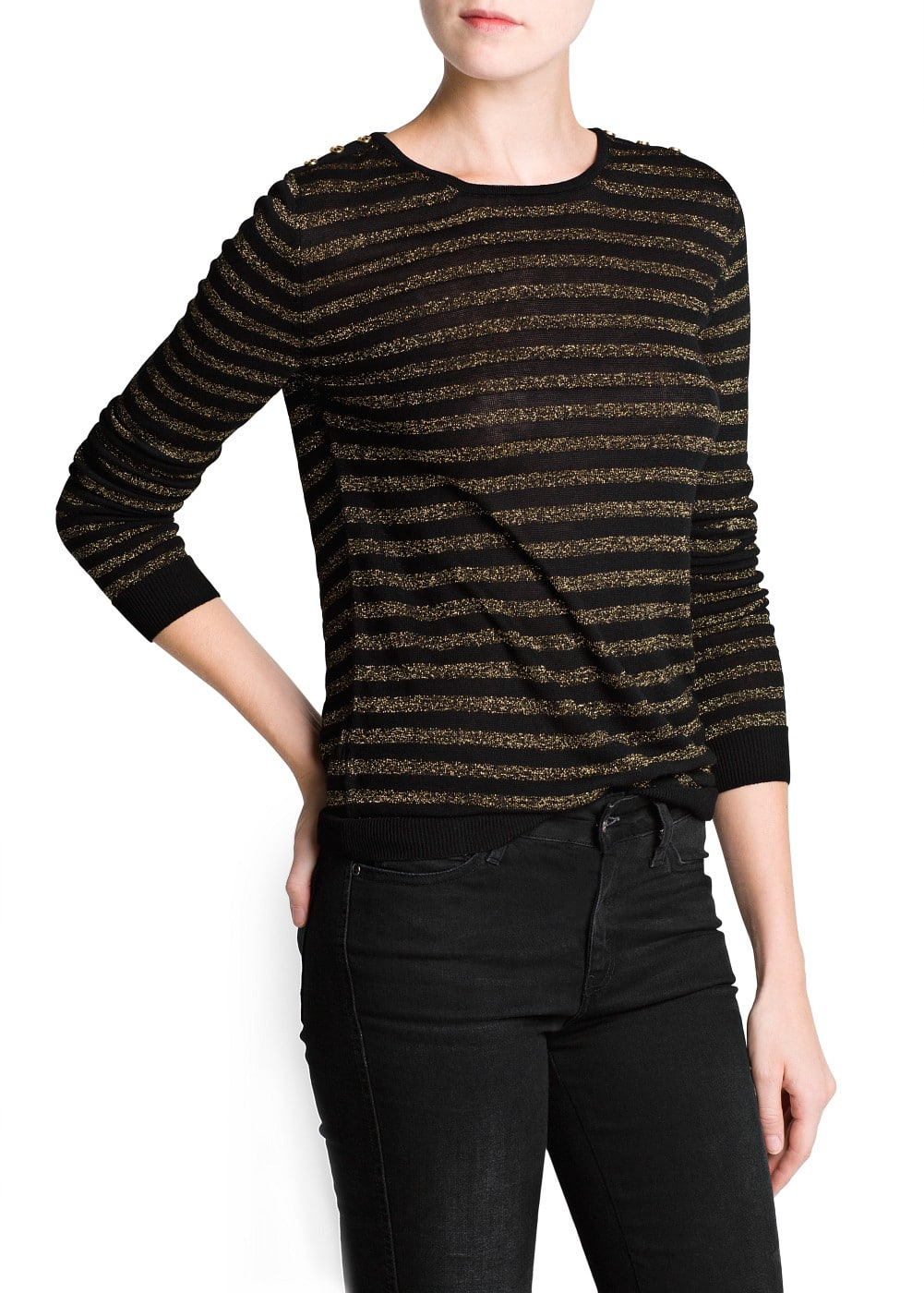 Metallic stripe sweater | MANGO