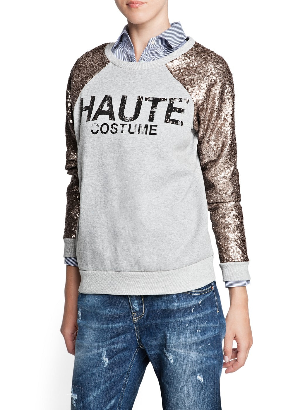 Typographic print sequined sweatshirt | MANGO
