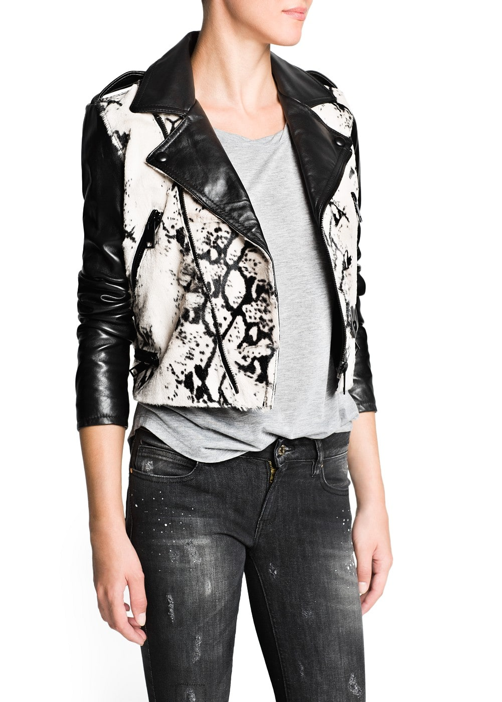 Premium - combi leather biker jacket | MANGO