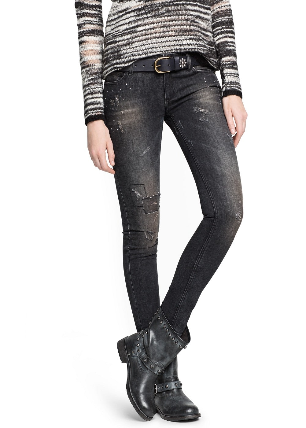 Super slim-fit black sara jeans | MANGO