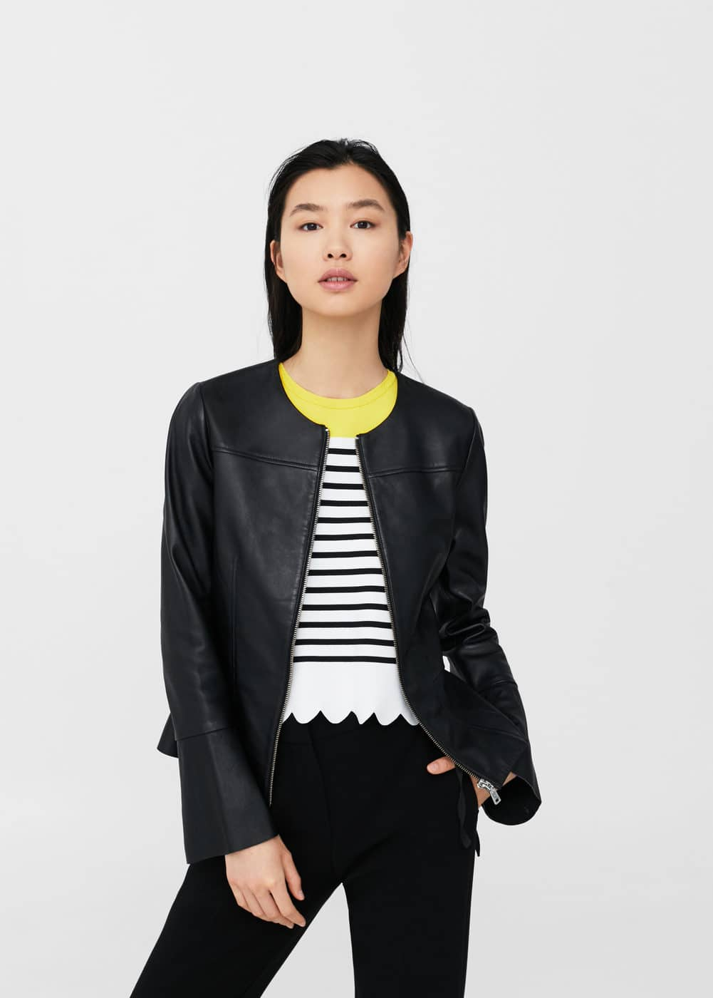 Flared sleeve leather jacket | MANGO