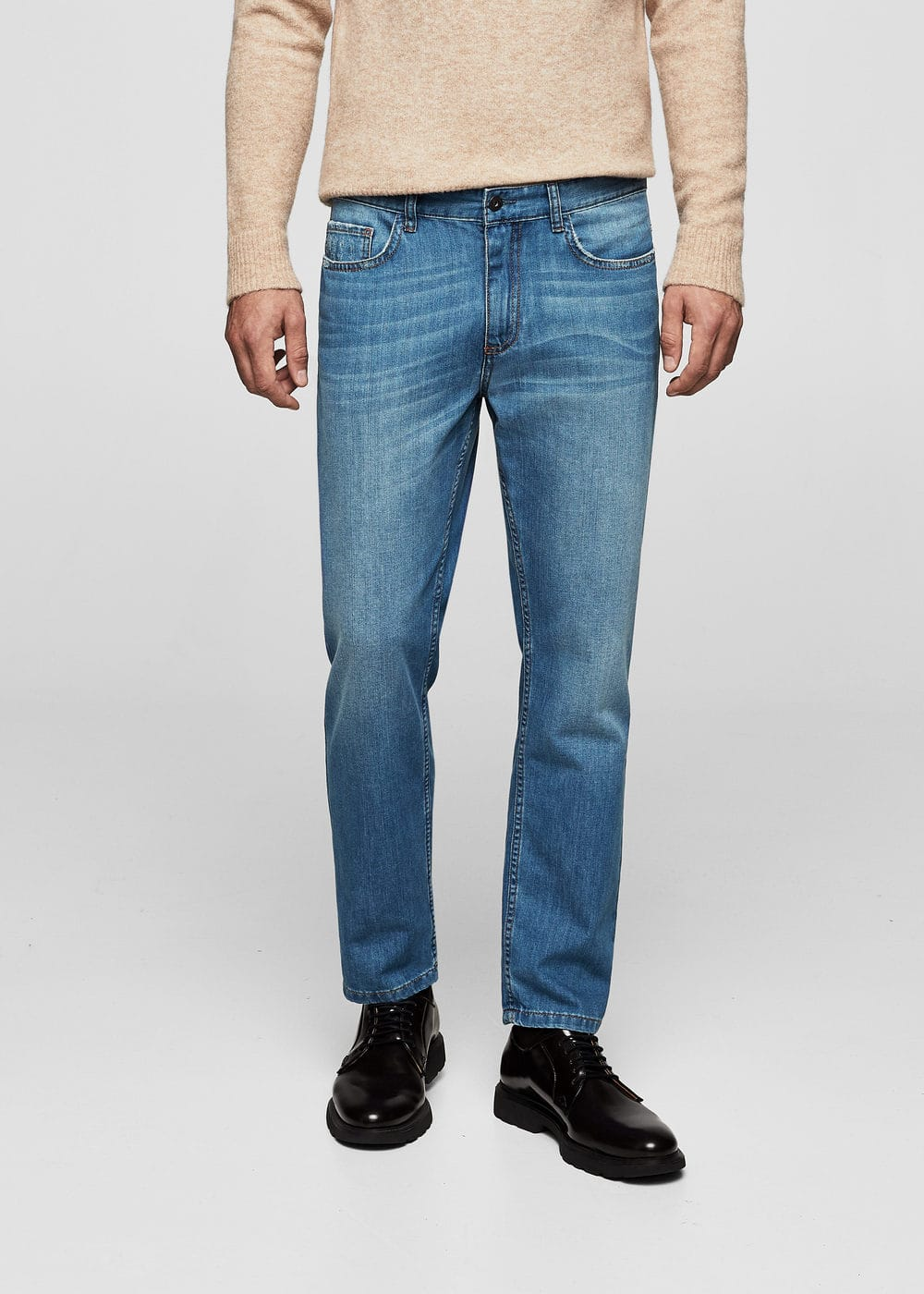 Straight-fit medium wash leaf jeans | MANGO MAN
