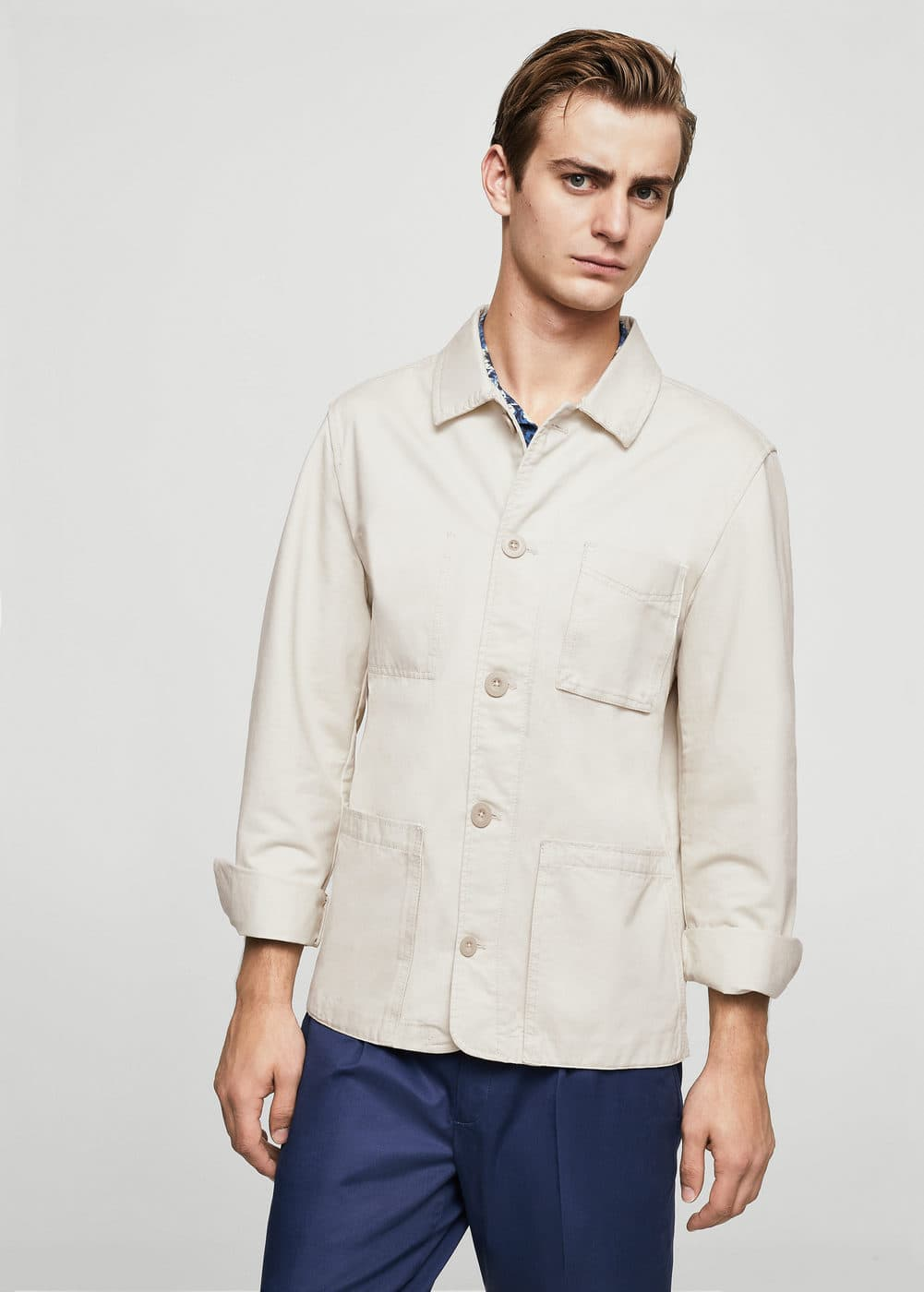 Pocket cotton jacket | MANGO