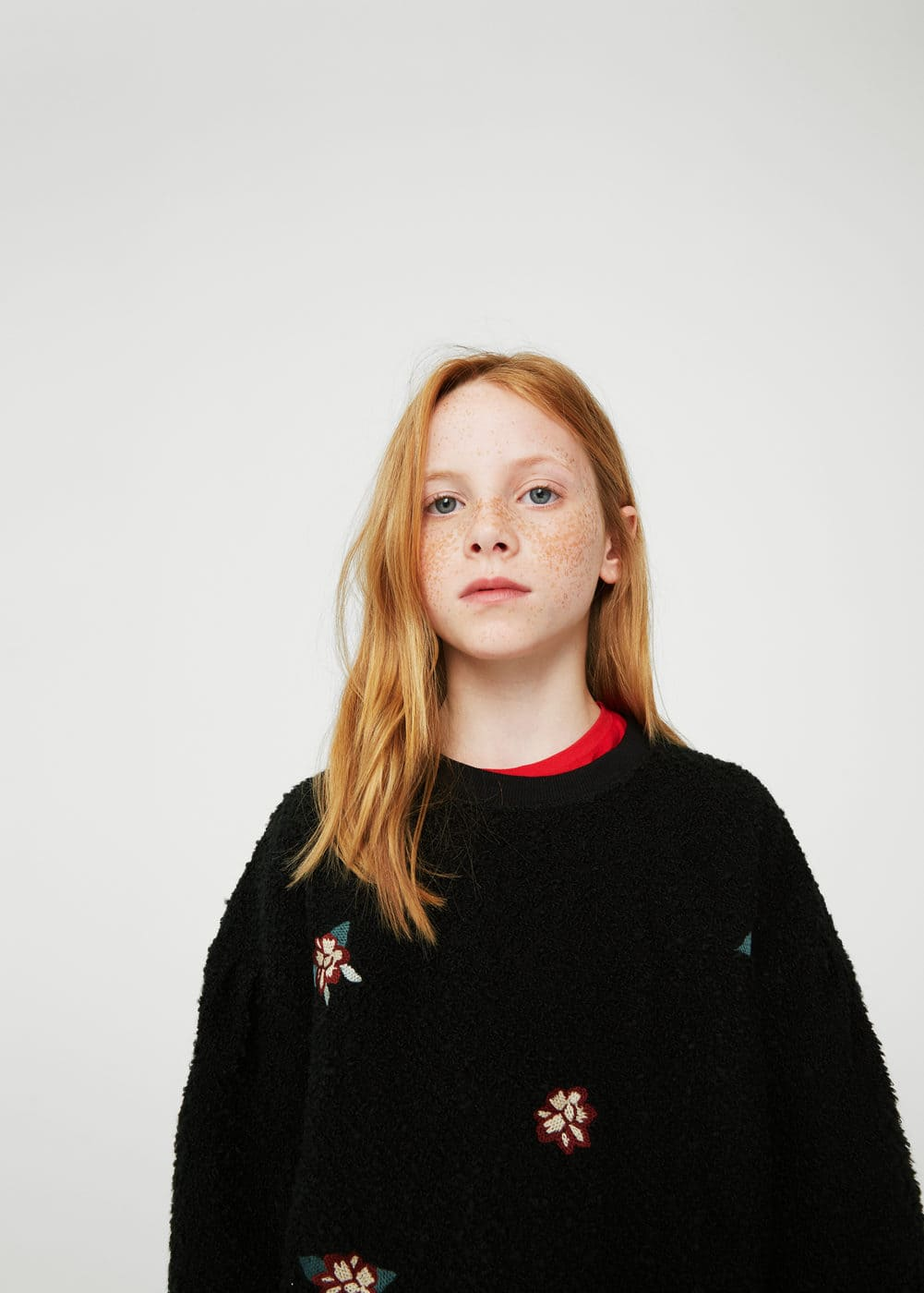 Floral embroidered sweatshirt | MANGO KIDS