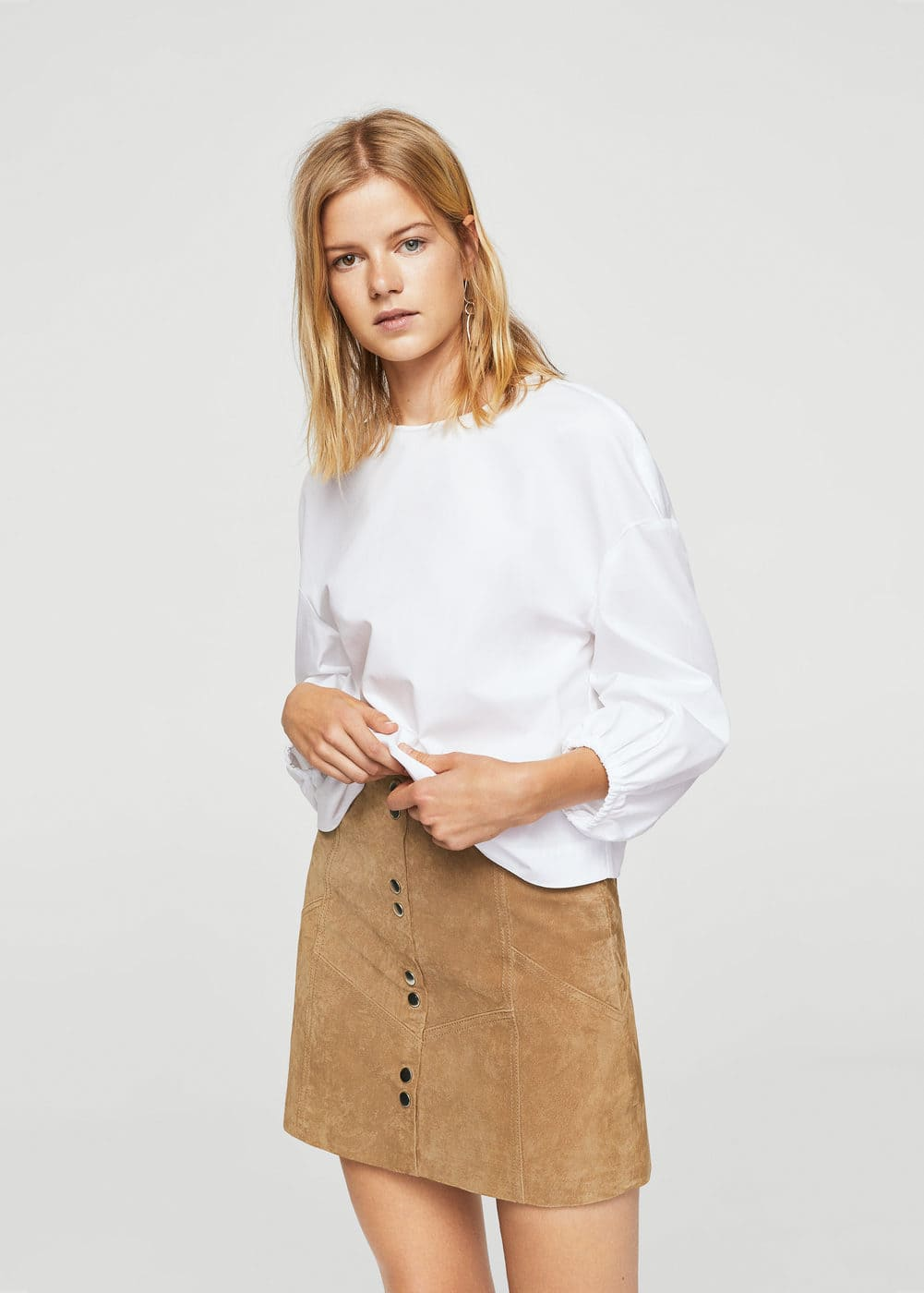 Snap leather skirt | MANGO