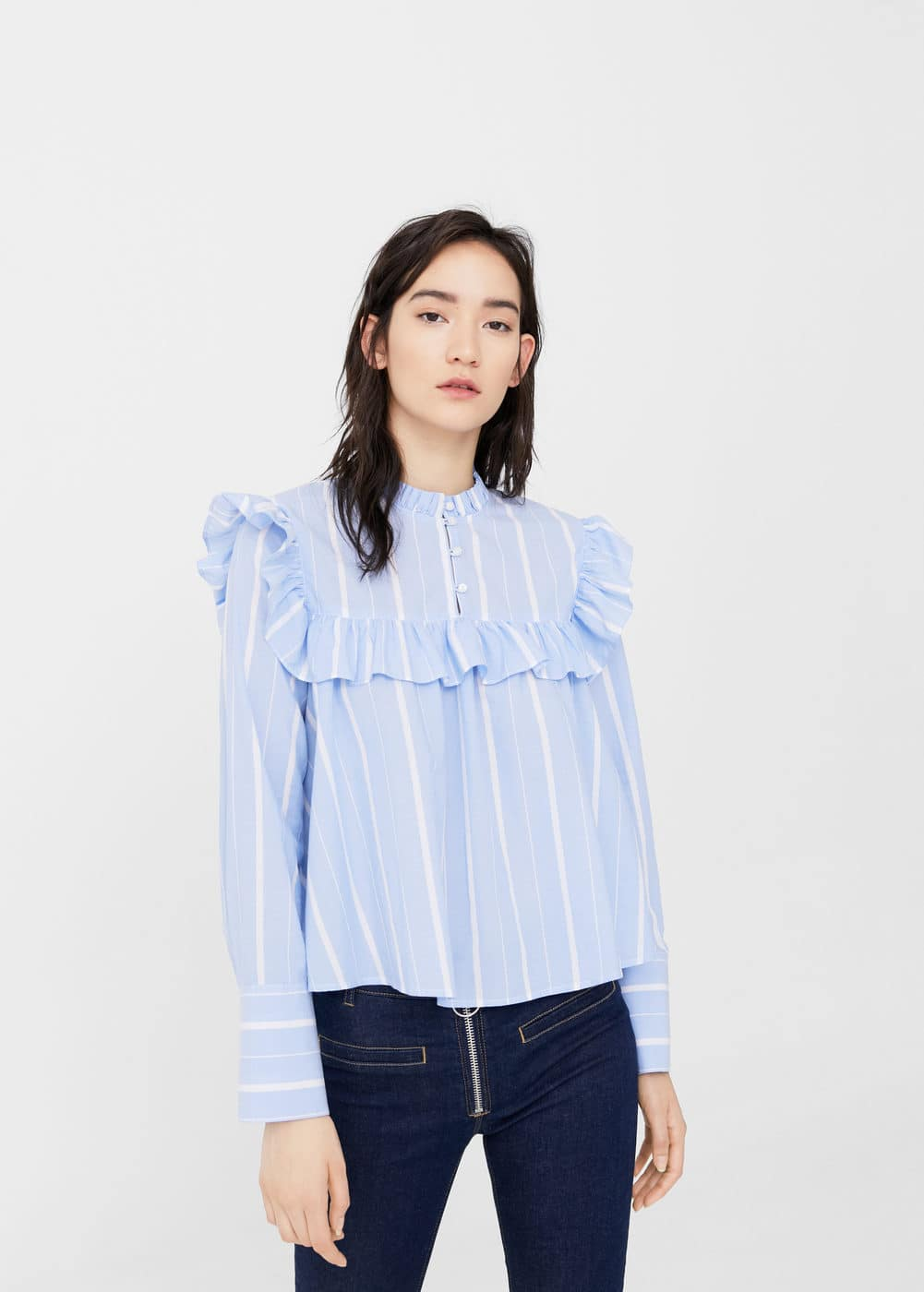 Ruffled stripe-patterned blouse | MANGO