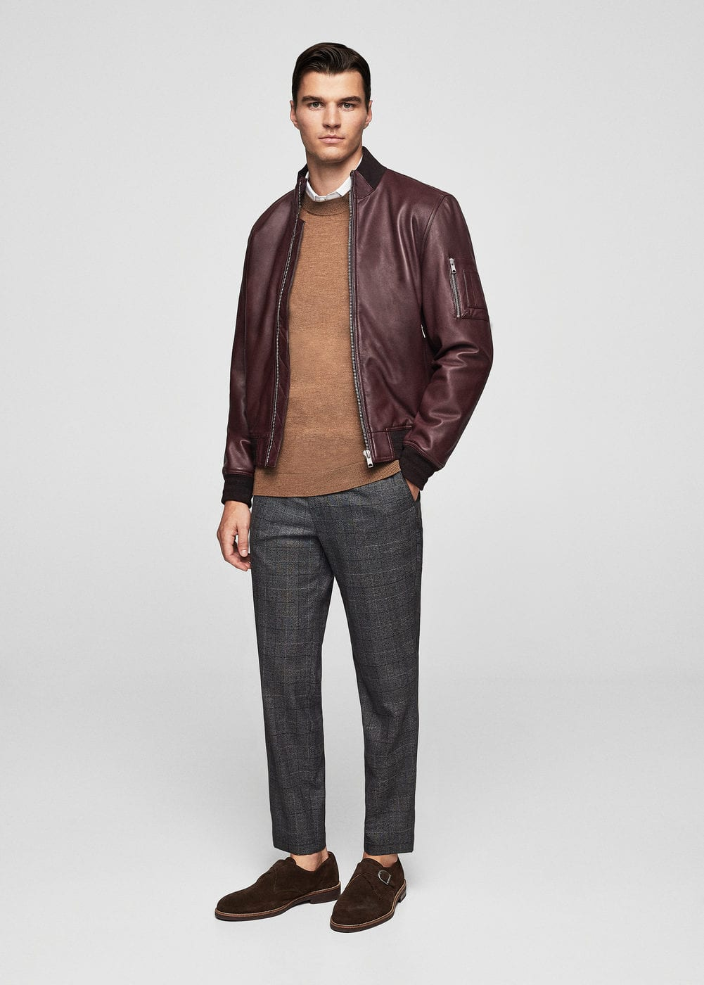 Pocketed leather bomber jacket | MANGO
