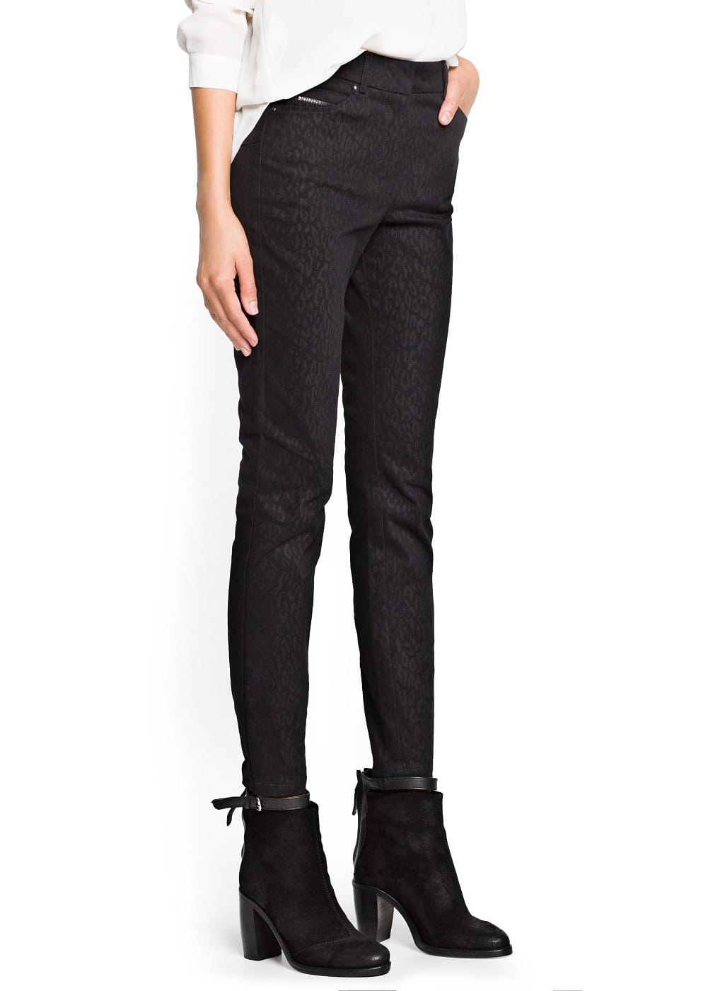 Leopard texture slim-fit trousers | MANGO