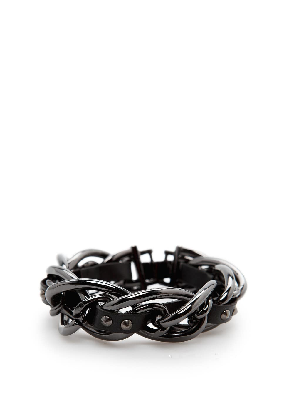 Faux leather ribbon chain bracelet | MANGO