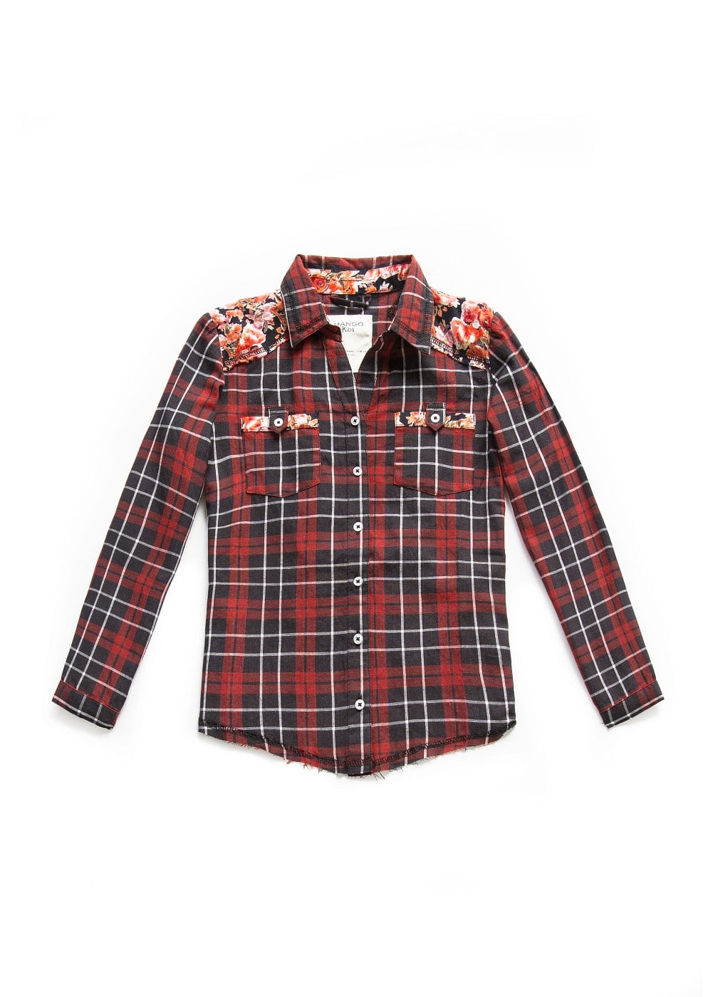 Floral panel check shirt | MANGO