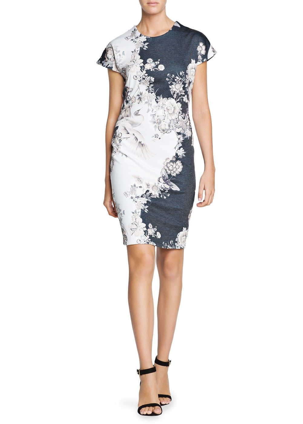 Oriental print fitted dress | MANGO