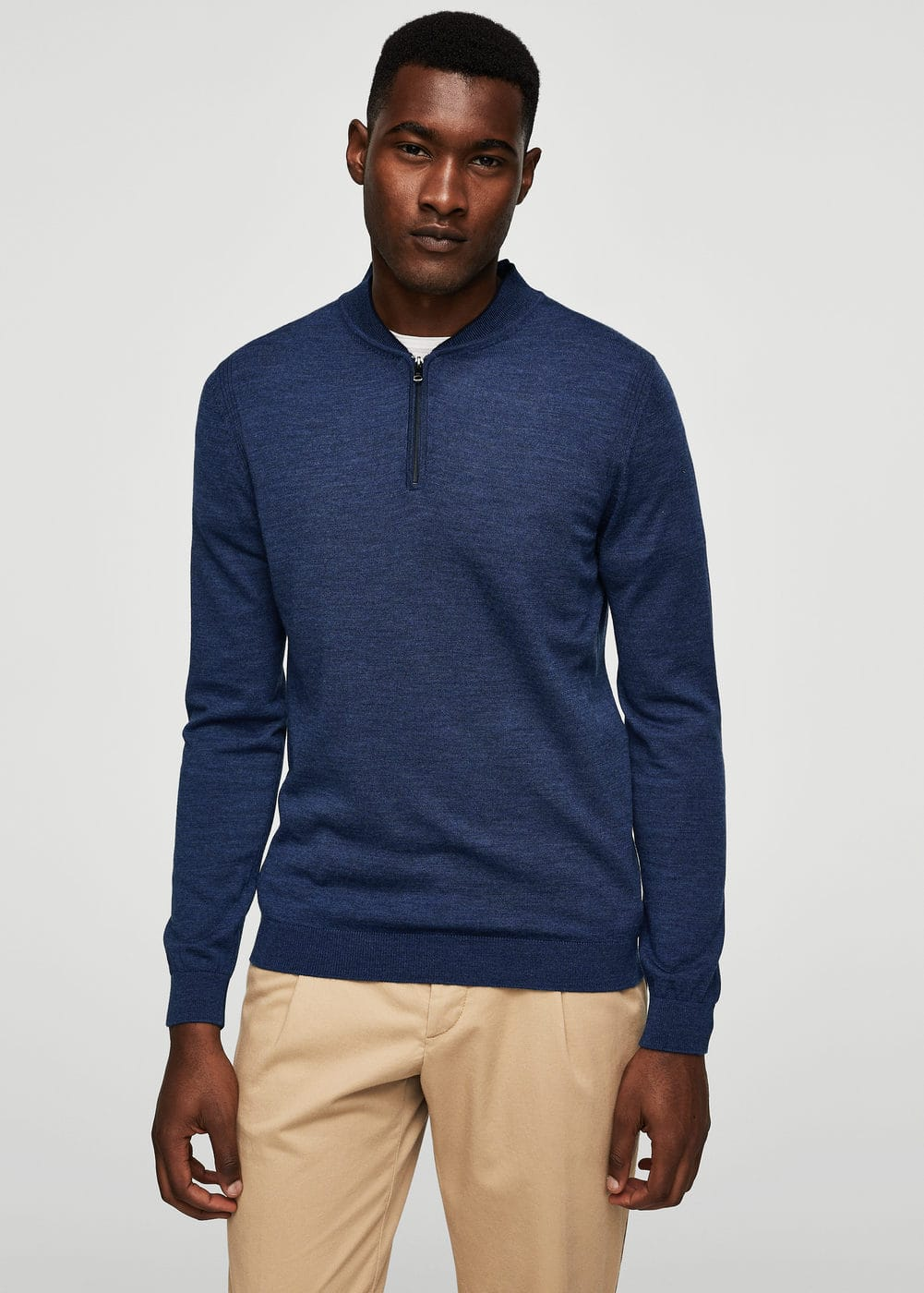 Wool zip neck jumper | MANGO