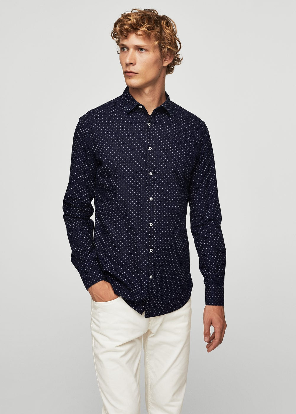 Camisa slim-fit estampado cruzes | MANGO
