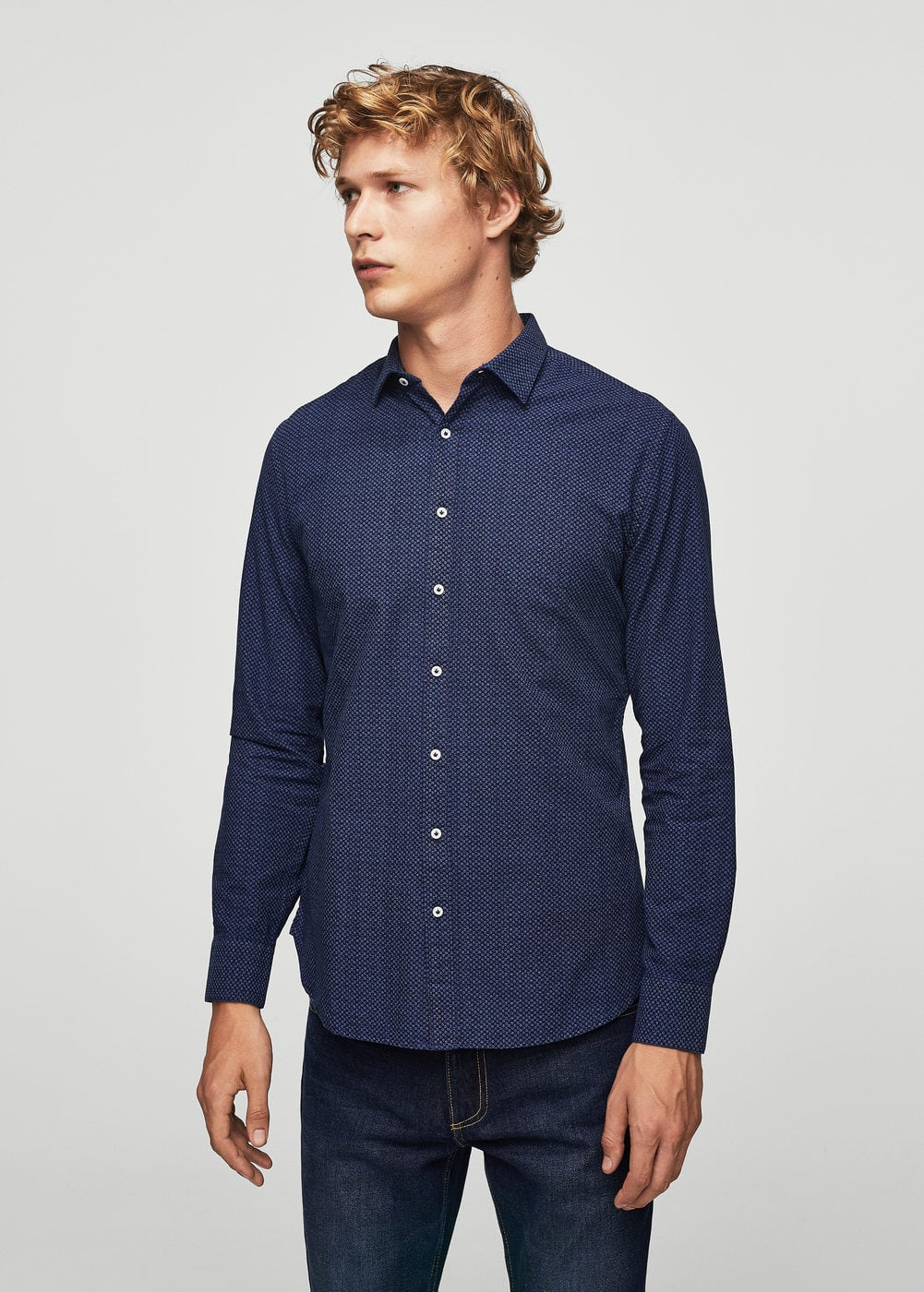 Slim-fit micro print shirt | MANGO