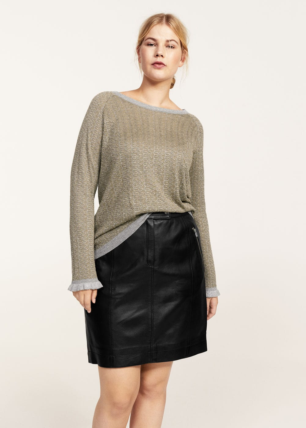 Metallic thread textured sweater | VIOLETA BY MANGO