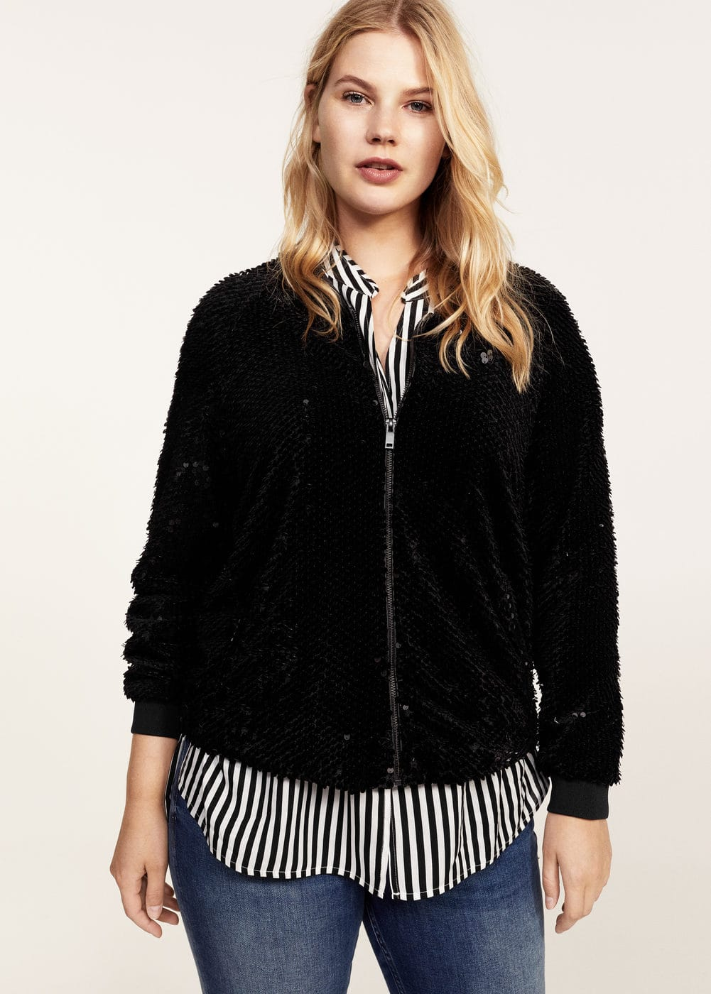 Sequined bomber | MANGO