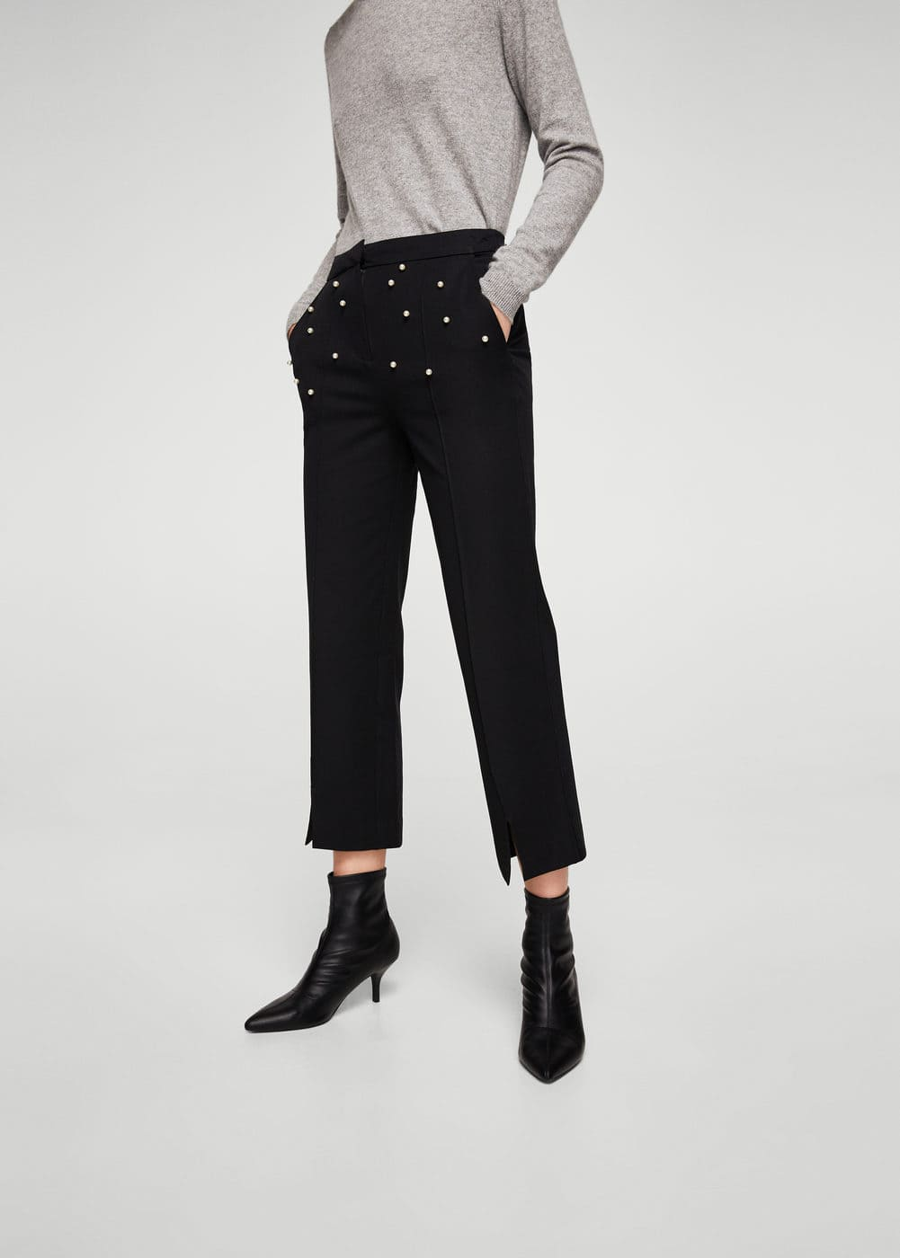 Pearls cotton trousers | MANGO