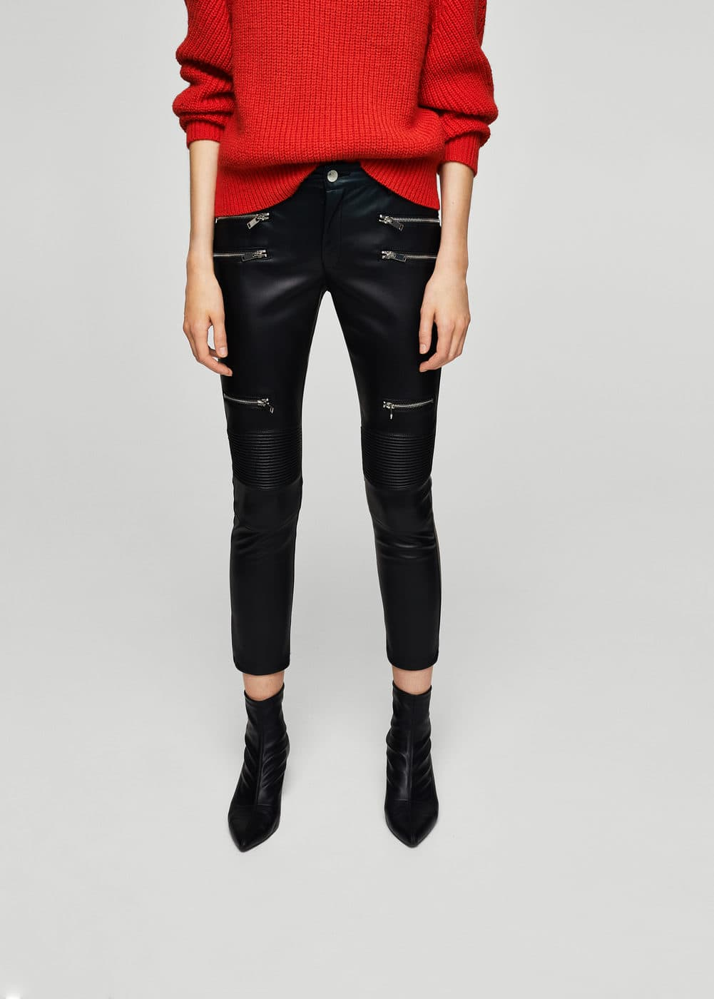 Zipper biker trousers | MANGO