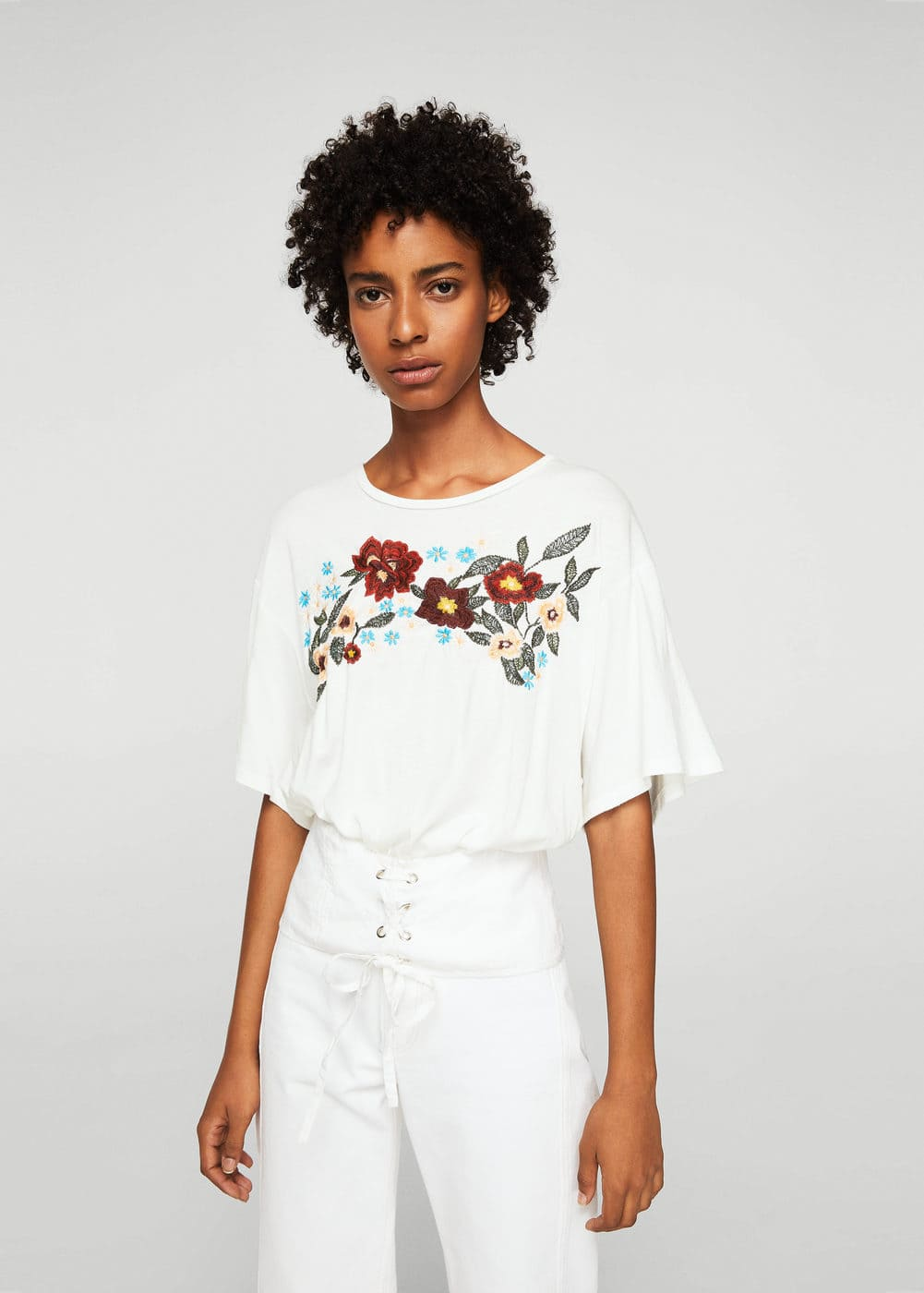 Embroidered t-shirt with corset | MANGO