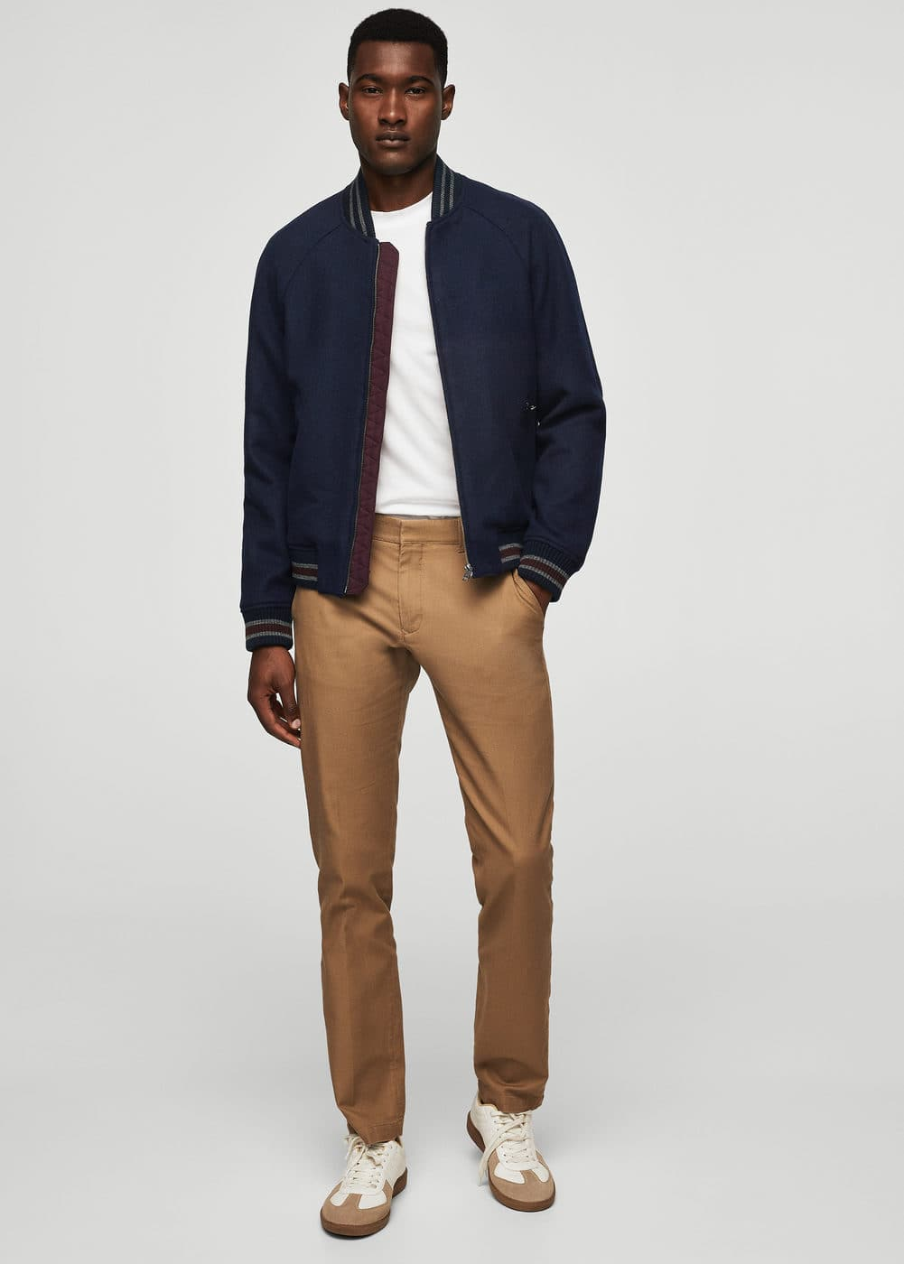 Contrast trims wool bomber jacket | MANGO