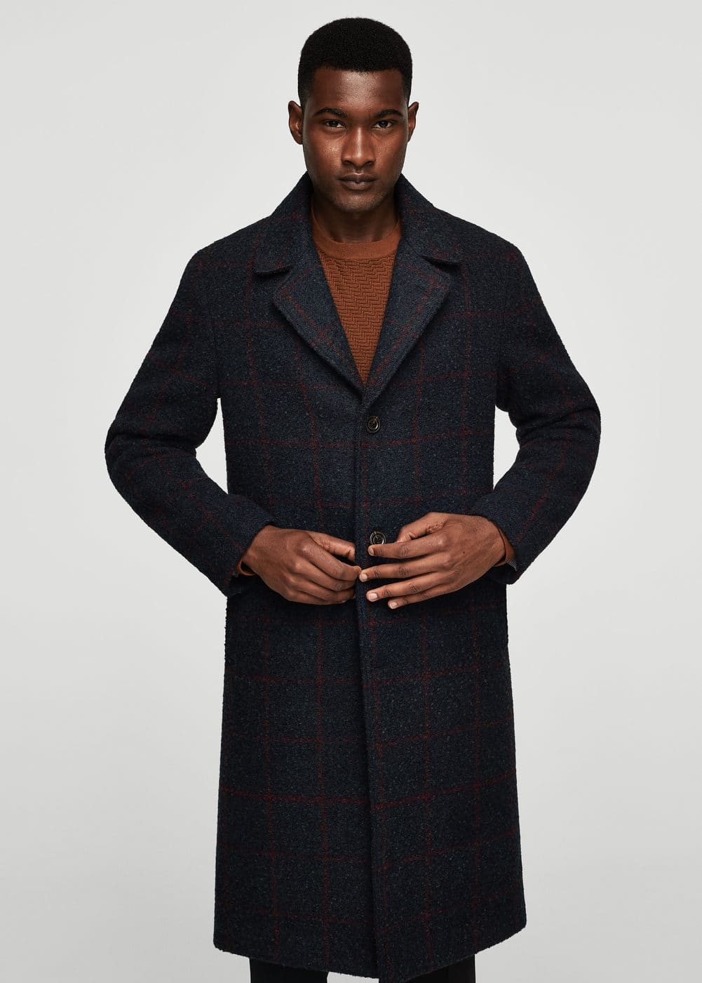 Check pattern textured coat | MANGO MAN