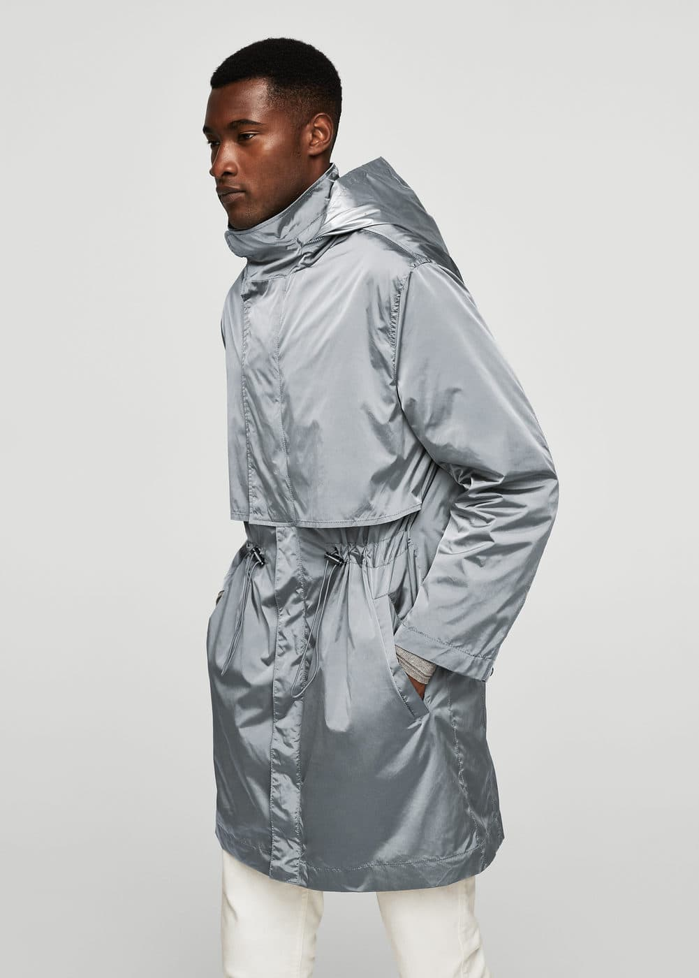 Hooded nylon parka | MANGO MAN