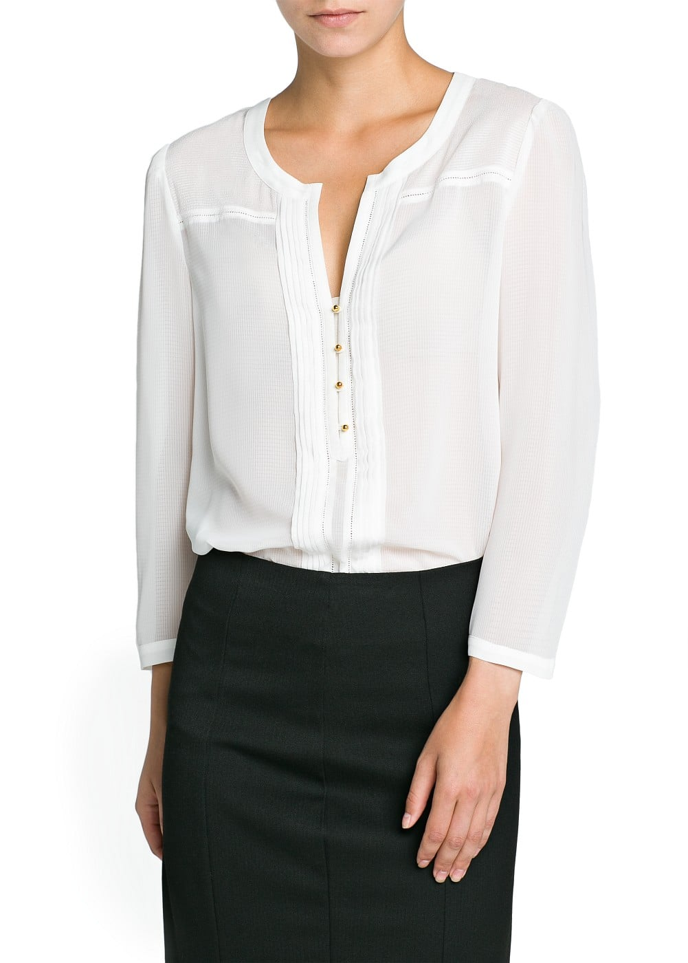 Pintuck detail textured blouse | MANGO