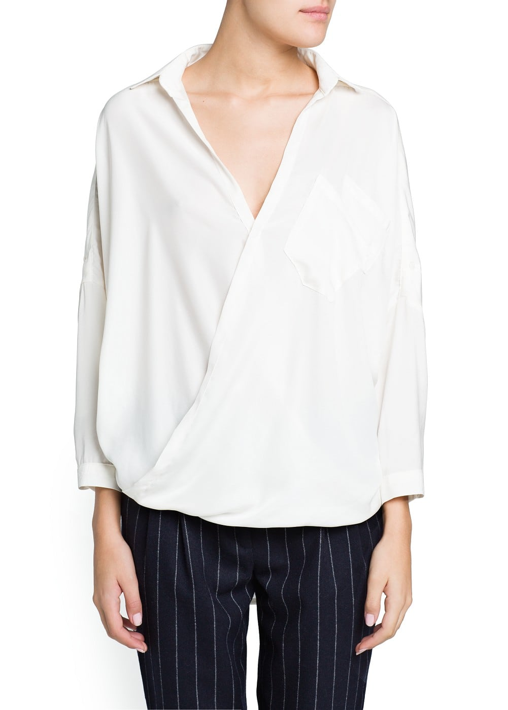 Satin wrap blouse | MANGO