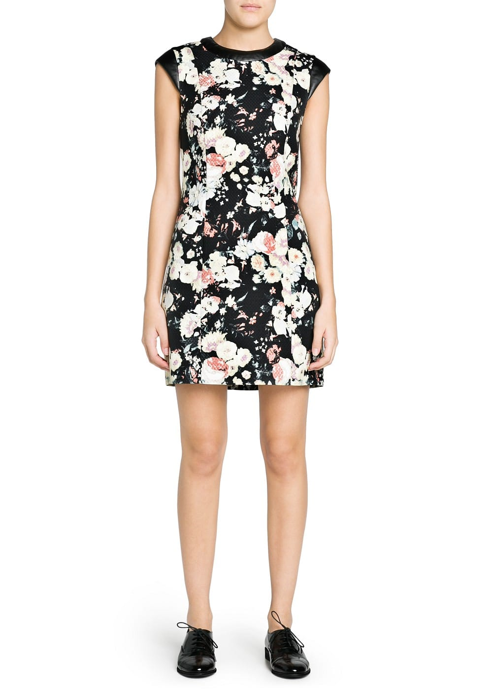 Contrast appliqué floral dress | MANGO